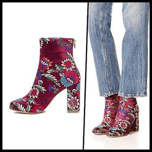 Joie Floral Embroidered Ankle Boots Block Heel 8.5